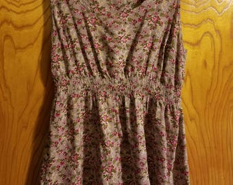 Vintage Purple Floral Babydoll Tunic Top/Short Dress - Size Small