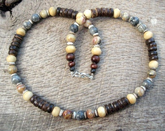 Mens surfer necklace, jasper, lace agate, bone, shell and coconut shell beads, tribal style, handmade from natural materials, one of a kind