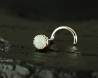 White opal cabachon 3mm bazel setting nose stud / nose screw / nose ring