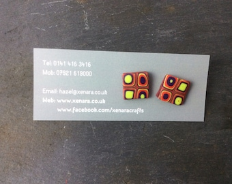 Square  studs - multi coloured studs - Polymer clay earrings