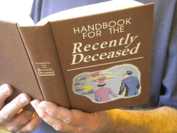 Beetlejuice Handbook for the Recently Deceased Book / movie prop / Zombie, Day of the Dead, Undead, Halloween, Geek, Horror, Fun, Tim Burton