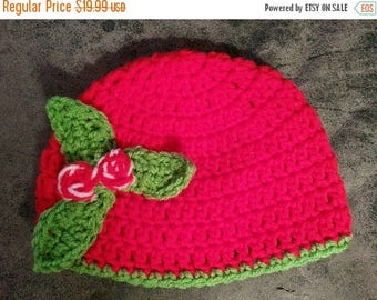 SALE 20% OFF Baby Red Green Holly Hat - Crochet Newborn Beanie Boy Girl Costume Winter Christmas Thanksgiving Photo Prop Cap Outfit
