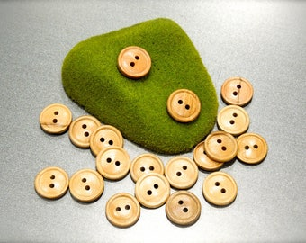 VINTGE: 28 Small Wood Buttons - Natural Wood Buttons - SKU 17-B1-00008134