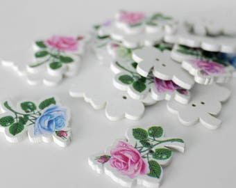 """30 PC Painted wood buttons 30mm - Wooden Buttons ,buttons, natural wood buttons """"Rose"""" A091"""