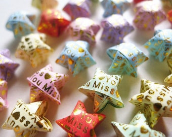 Miss You Origami Stars - Message Embossed Wishing Stars/Embellishment/Home Decor/Enclosure