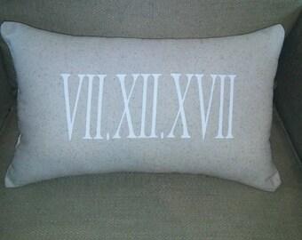 Roman Numeral Date Pillow- Wedding Pillow- Anniversary Pillow-Bridal Shower Gift- Anniversary Gift-Pillows-Wedding