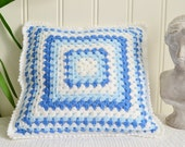 "Blue and white granny chrochet pillow, handmade Swedish home decor, sofa cushion, cottage decoration 12"" x 12 "" , ready to ship"
