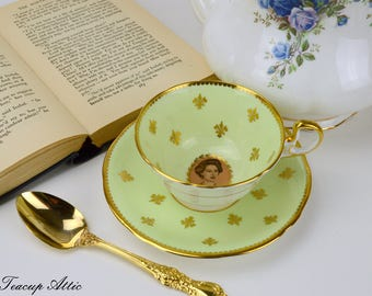 Aynsley Pale Yellow Princess Margaret Commemorative Teacup And Saucer Set, English Bone China Tea Cup, Royal Family, ca. 1958