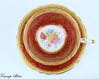 Paragon Red And Gold Teacup and Saucer Set, Bone China Tea Cup Set, Elegant Tea Party, Cabinet Collector's Cup, ca. 1952-1960