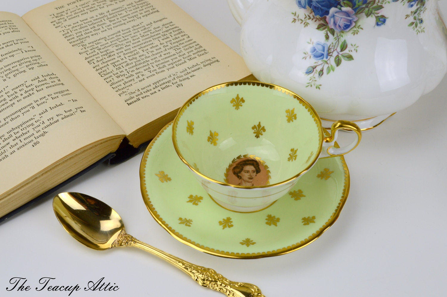 Aynsley Pale Yellow Princess Margaret Commemorative Teacup And Saucer Set, English Bone China Tea Cup, Royal Family, ca. 1958