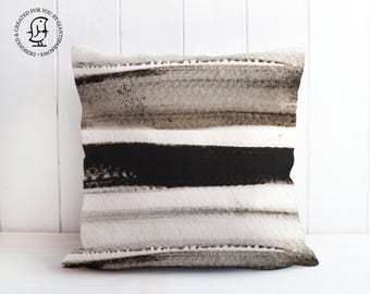 Decorative Cushion with Black and White Stripes - Delicate design with Soft Colours - Beautifully reproduced on our made to order Cushions