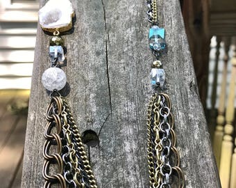 Long asymmetrical white geode yellow gold and brass silver mixed metal chain statement opera-length necklace