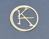 Ka is a wheel   All handmade Cut coin bronze charm Coincraft by invicia on ETSY