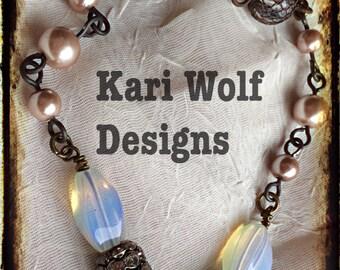 "DEER, Necklace, Assemble, ""Grace"" Rhinestones, Lady Hunter, Moonstone, Flower, Key, Boho, Buck necklace, Created By:Kari Wolf Designs"