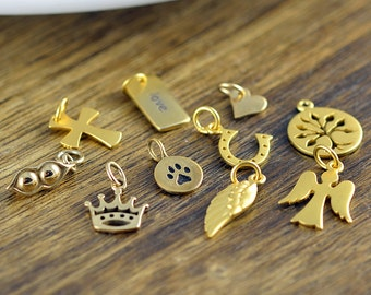 gold charm, add on charm, charms, add on, necklace charms