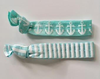 hair tie bracelets, beach bracelets, anchor bracelet, beach accessory, friendship bracelets, nautical accessories, girl gift