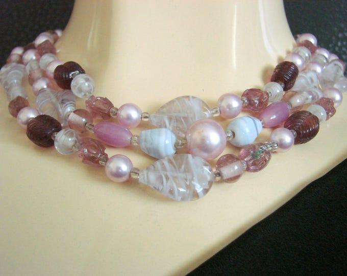 Vintage Amethyst Art Glass Bib Bead Necklace / Jewelry / Jewellery