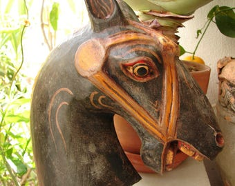 Antique horse head,French, polychrome wood,carved, wooden carousel style, open mouthed horses head