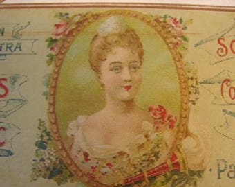 vintage French soap sign, savon white lilacs advertising label on wood with string to hang.