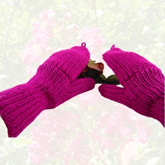 Womens Convertibles Hand Knit Fuchsia Sparkle Hobo Gloves