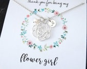 Flower Girl gift  Flower girl necklace with message card initial necklace freshwater pearl necklace Bridesmaid Gift Personalized Jewelry