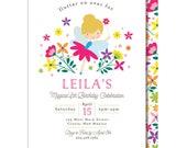 Fairy Birthday Invitation, Garden, Fairy Birthday, Printed or Printable