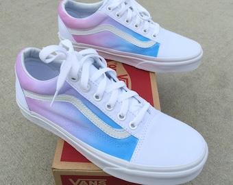 Custom Painted Vans Old Skool Sneakers - Pastel Ombre Gradient