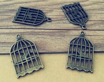 20pcs  Antique bronze bird cage charm 15mmx27mm