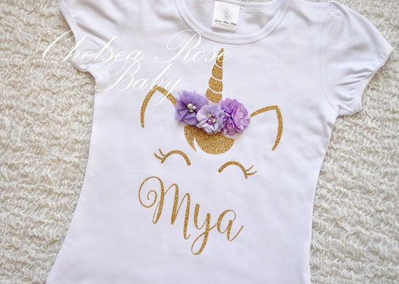 Lavender And Gold Unicorn Birthday Shirt Personalized