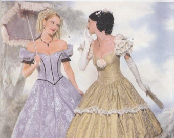 Southern Belle Gown Costume Pattern Butterick 6195 Sizes 18 - 22 Uncut