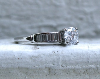 Gorgeous Vintage 14K White Gold Diamond Engagement Ring with Baguettes - 0.89ct.