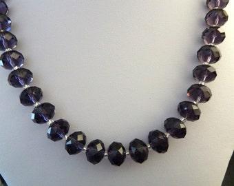 handmade purple crystal necklace, UK