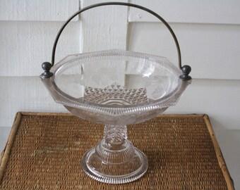 antique glass pedestal bowl, 1800s glass bowl, etched glass bowl, pedestal bowl