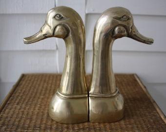 brass duck head bookends, brass bookends, brass animals, brass figurines