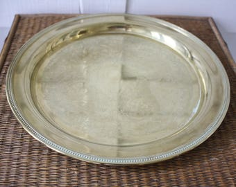 round brass tray, solid brass tray, cocktail tray, brass serving tray, Hollywood Regency