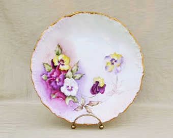 """Antique T&V Limoges pansy plate, hand painted porcelain 9 1/2"""" plate with purple and yellow pansies"""