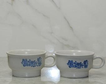 Vintage Pfaltzgraff YORKTOWNE Coffee Mugs,Tea Mugs, Blue on Gray, Set of 2, Stoneware Mug, Flat Mug, Soup Bowl, Blue Floral Mug, Tea
