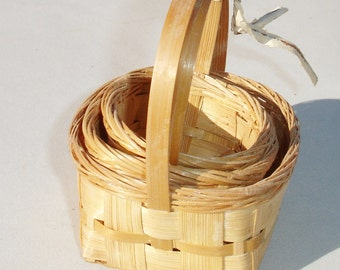 Vintage Miniature Wicker Baskets - Set of 3