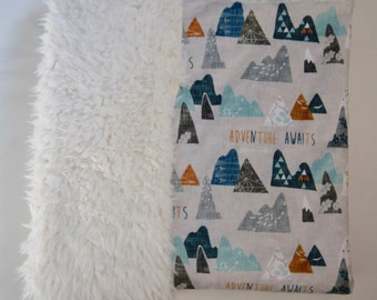Mountains Baby Boy Blanket. Baby MINKY Blanket, Baby Bedding. Faux Fur Baby Blanket, Personalized Baby Boy Blanket, Adventure Awaits Blue