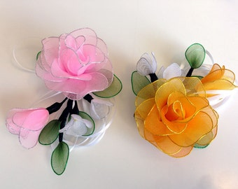 Handmade Colorful Roses with Pin