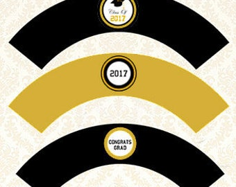 Graduation Party Decorations - Graduation Cupcake Wrappers, Grad Cupcake Holders, Class of 2017 DIY Party Decor, Gold and Black