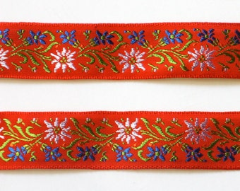 "Vintage Woven Ribbon -  7/8""  Red, Blue, Green Floral - Edelweise - 100% Rayon Made in Switzerland"