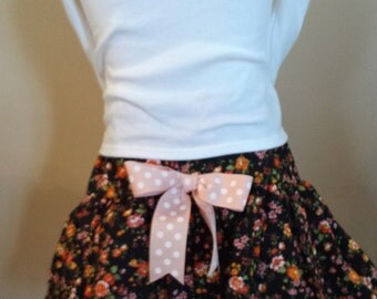 "Girls Size 5 to 6 Ruffles and Lace Skirt 18"" waist Black with Coral Floral Flowers Design"