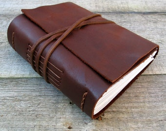 "Leather journal, Oscar Wilde quote / ""Be yourself. Everyone else is taken"" / rustic brown leather journal by moon and hare"