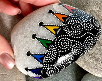 the jester's hat / silly is good / painted rocks / painted stones  / paperweights // hand painted stones / small paintings / rocks