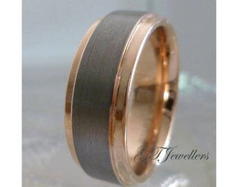 Rose Gold Tungsten Ring, Brushed Tungsten Band, 8mm, 6mm, Tungsten Wedding Band, Anniversary, Engagement, TR70 Custom