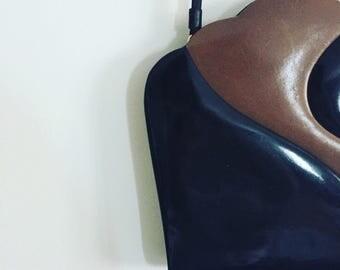 Brown and Black Vintage Shoulder Bag