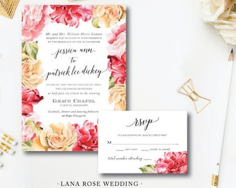 Lana Rose Printed Wedding Suite | Wedding Invitations | Floral Invitation | Printed or Printable by Darby Cards Collective