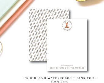 Woodland Fox Watercolor Printed Thank You Notes | Flat Notes | Printed Stationery with Blank Envelopes | Printed by Darby Cards