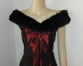 1/2 OFF Vintage Crimson Taffeta Faux Fur Evening Gown, by Dave and Johnny